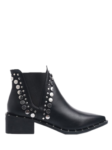 Sale Metal Chunky Heel Pointed Toe Ankle Boots