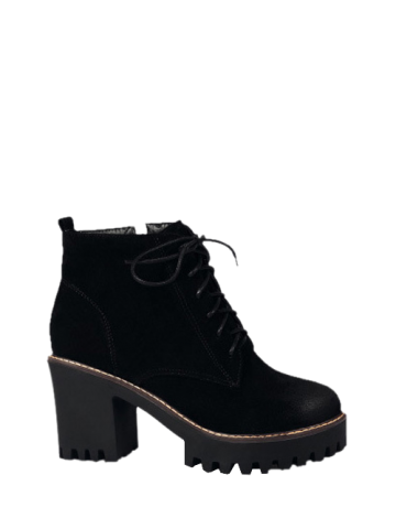 Outfit Zip Tie Up Chunky Heel Ankle Boots BLACK 39