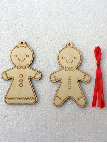 Outfits 2PCS Wooden Cookie Pendants Christmas Tree Supplies Party Decoration - WOOD  Mobile