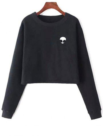 Fashion Alien Embroidery Cropped Sweatshirt BLACK ONE SIZE(FIT SIZE XS TO M)