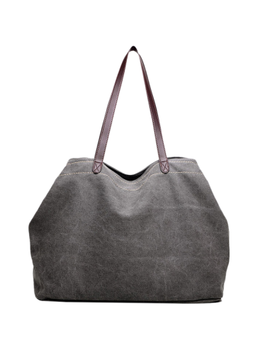 Store Casual Canvas Stitching Shoulder Bag GRAY