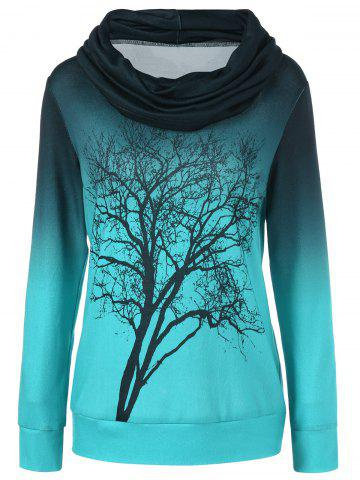 Affordable Cowl Neck Ombre Tree Print Sweatshirt - M BLUE GREEN Mobile
