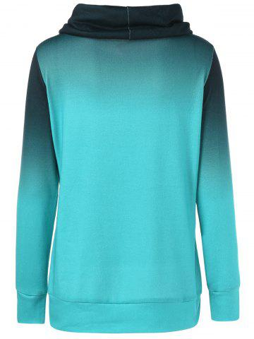 New Cowl Neck Ombre Tree Print Sweatshirt - M BLUE GREEN Mobile