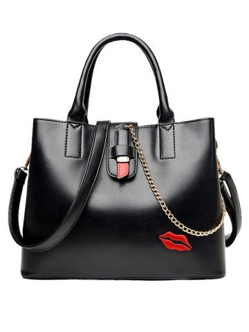 Affordable Embroidered Lip Chains Handbag BLACK
