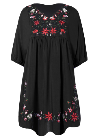 Shop V Neck Embroidered Shift Casual Dress BLACK ONE SIZE
