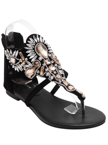 Best Gorgeous Artificial Jewel and Flat Heel Design Sandals For Women BLACK 40