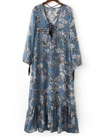 Stylish Plunging Neck Long Sleeve Printed Maxi Dress For Women - Ice Blue - S