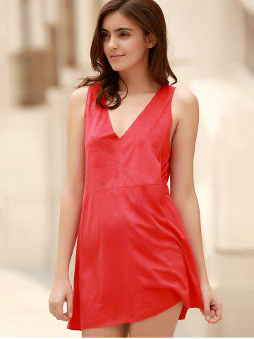 Discount Stylish Plunging Neck Sleeveless Red Faux Suede Women's Dress - L RED Mobile