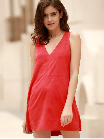 Chic Stylish Plunging Neck Sleeveless Red Faux Suede Women's Dress - L RED Mobile