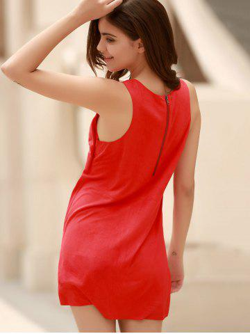 Affordable Stylish Plunging Neck Sleeveless Red Faux Suede Women's Dress - L RED Mobile
