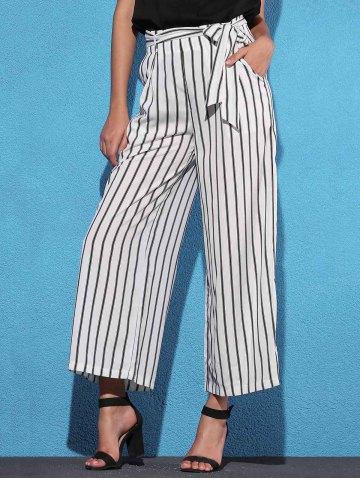New High Waist Striped Wide Leg Women's Pants
