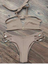 Strappy Halter Neck Cut Out Bikini