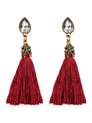 Rhinestone Water Drop Tassel Earrings -