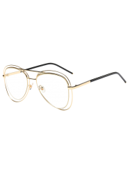 Party Double Rims Transparent Lens Pilot Sunglasses - GOLDEN