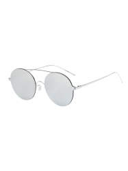 Crossbar Metallic Round Mirrored Sunglasses