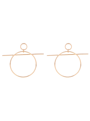 Bar Circle Drop Earrings -