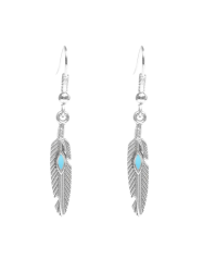 Beaded Resin Feather Drop Earrings - SILVER