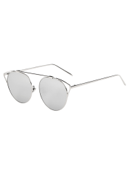 Travel Hollow Out Angle Oval Mirrored Sunglasses