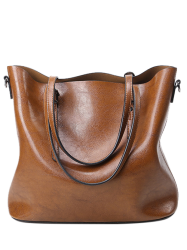 Metal Buckles PU Leather Shoulder Bag - BROWN