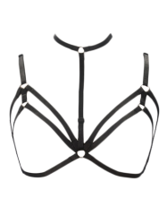 Harness Bra Bondage Layered Body Jewelry Necklace - BLACK