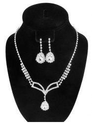 Rhinestone Embellished Teardrop Necklace and Earrings - SILVER