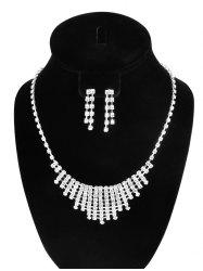 Rhinestone Hollow Out Necklace and Earrings - SILVER