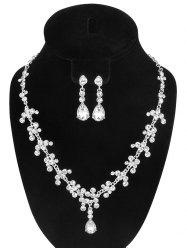 Rhinestone Teardrop Necklace and Earrings - SILVER