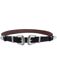 Faux Leather Belt with Cameo 2 Double Buckle