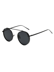 Round Chunky Frame Metal Sunglasses - BLACK
