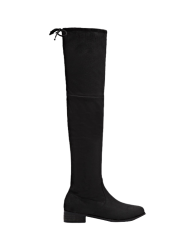 Tie Up Flat Heel Zip Thigh Boots - BLACK