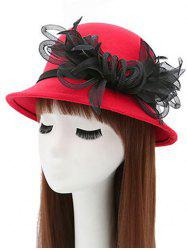 Mesh Yarn Flower Faux Wool Fedora Hat -