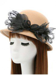 Mesh Yarn Flower Faux Wool Fedora Hat