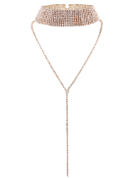 Long Rhinestoned Wide Choker Necklace - CHAMPAGNE
