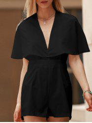 Stylish Plunging Neck Bat-Wing Sleeve Solid Color Women's Romper