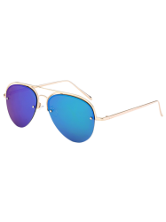 Metal Crossbar Semi Rimless Mirrored Aviator Sunglasses - ICE BLUE