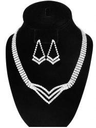 Rhinestone Triangle Hollow Out Jewelry Set - SILVER