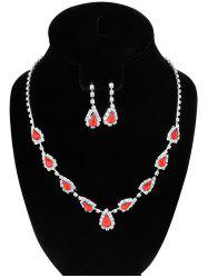 Teardrop Rhinestone Faux Ruby Jewelry Set - RED