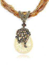 Bohemia Faux Crystal Water Drop Flower Pendant Necklace -