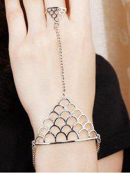 Hollow Out Fish Scales Shape Bracelet With Ring - SILVER