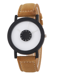 Faux Leather Band Analog Quartz Watch -