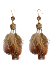 Rhinestone Feather Floral Bohemian Drop Earrings -