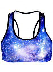 Sparkling U-Neck Star Print Women's Sports Bra -