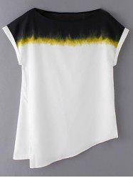 Stylish Round Neck Short Sleeve Loose Side Slit Women's T-Shirt -