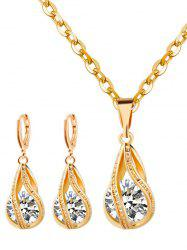 Rhinestone Water Drop Wedding Jewelry Set - GOLDEN