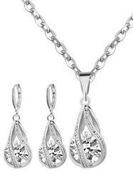Rhinestone Water Drop Wedding Jewelry Set - SILVER
