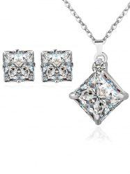 Rhinestone Square Wedding Jewelry Set