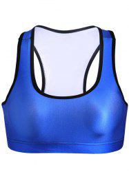 Simple U-Neck Splice solide Gym Bra Femmes Couleur - Bleu