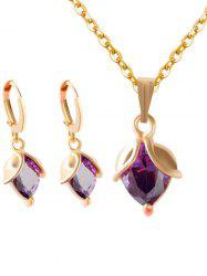 Faux Amethyst Crystal Wedding Jewelry Set - PURPLE
