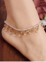 Chic Faux Pearl Tassel Elastic Anklet For Women -