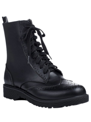 Casual Tie Up and Engraving Design Short Boots For Women